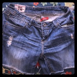 First Kiss Denim distressed shorts